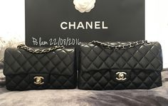 Chanel rectangular mini with light gold h/w and small double classic flap with silver h/w Both in black lambskin ❤️