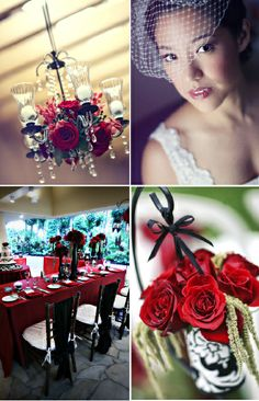 Wedding Reception - red roses and dangling crystal chandelier, black vases, red linens, black chair covers