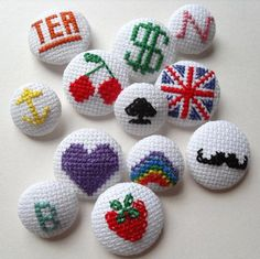 embroidered textile buttons