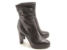 Sergio Rossi high heels ankle boots in black Leather - Italian Boutique €488