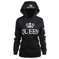 fb06a966eb85f 2018 KING Queen Crown Print Unisex Men Women Autumn Hoodies Slim Sweatshirt  for Couple Lovers Winter