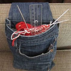 Upcycled Denim Armrest Bag --- Super idea I can even use this for my magazine or book ---