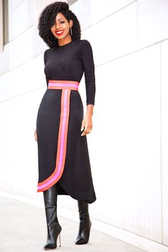 Bodysuit + Contrast Wave Midi Skirt | Style Pantry | Bloglovin'