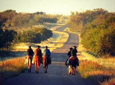 Texas Cowboys. Ranch. The Tongue River Ranch Crew early one Fall morning going out to gather the Mares.