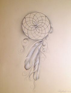 "Dream Catcher realistic original whimsical drawing artwork wall home decor fine art illustration feathers 8.5""X11"" via Etsy"