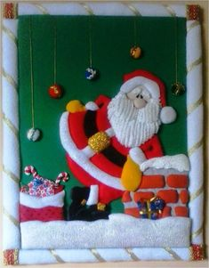 Father Christmas, Felt Christmas, Christmas Crafts, Christmas Decorations, Xmas, Christmas Ornaments, Holiday Decor, Christmas Quilt Patterns, Applique Quilt Patterns