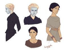 "taratjah: "" These are some drawings I did a while back of Helene, Laia and Elias from an Ember in the Ashes! This was me trying to figure out what they look like. """