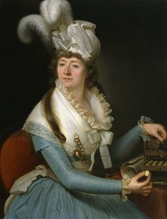 """""""Tight silk sleeves, note length is to wrists, with delicate lace ruffles; lovely silk striped bow at center front of bodice, with matching lace ruff to edge of fichu. Miniature portrait pinned to breast. Sitter is showing off her collection of Intaglios (engraved gems which were a big hit with travelers in the 18thC). Portrait of a Lady, 1780-1789"""""""