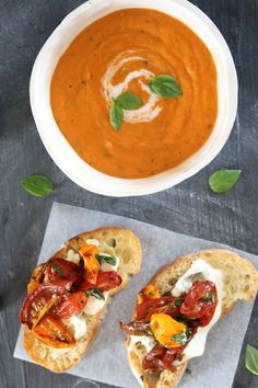 """Cream of Tomato Soup with Roasted Tomato and Gorgonzola Bruschetta – Stylish """"soup and bread"""". 2 delicious tomato dishes makes one memorable meal. Cream Of Tomato Soup, Tomato Dishes, Butternut Soup, Tomato Bruschetta, Midweek Meals, Vegetarian Soup, Vegetarian Recipes, Winter Soups, Roasted Tomatoes"""