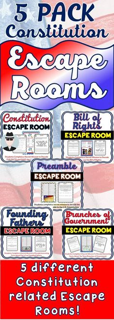 This 5 pack bundle of Constitution related Escape Rooms will take students on 5 separate secret missions around the classroom! Each escape room has students decode interesting facts about the Preamble, the Constitution, Bill of Rights, Founding Fathers or