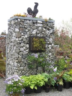 Gabions at Dig Floral and Garden on Vashon Island