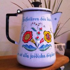 Vintage Berggren Swedish Enamel Coffee Pot Floral Folk Art Sweden