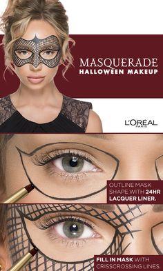 Masquerade Halloween Makeup Tutorial using Infallible Lacquer Liner. Click the link for a video tutorial by Liza Lash. Makeup Art, Makeup Tips, Beauty Makeup, Eye Makeup, Hair Makeup, Halloween Eyes, Masquerade Halloween Costumes, Maquillage Halloween, Halloween Disfraces