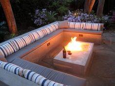 Fire Table Fire Pit Alastair Boase Landscape Design, LLC Sherman Oaks, CA area diy ideas modern Fire Pit Table, Diy Fire Pit, Fire Pit Backyard, Backyard Patio, Backyard Retreat, Backyard Seating, Patio Table, Outside Fire Pits, Fire Pit Landscaping