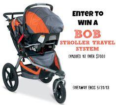 Enter to win a BOB Stroller System #giveaway valued at over seven hundred dollars! Ends 5/31/13