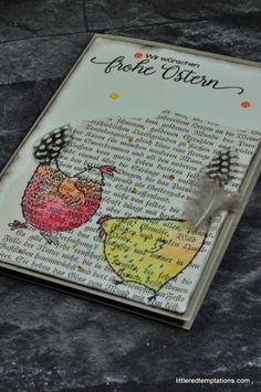 Hello Chick - Eine Osterkarte im Vintagelook habe ich in diesem Jahr gebastelt. Aquarelltechnik auf Seiten eines uralten Buches. Die Stempel sind von Stampin Up.