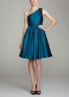 Amazon.com: David's Bridal Bridesmaid Dresses Short One Shoulder Taffeta Dress with Beading Style F15409: $150Clothing