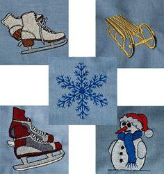 Schlitten Schlittschuhe Schneeflocke Schneemann Winter Stickdateien auf www.gabrielles-embroidery.com