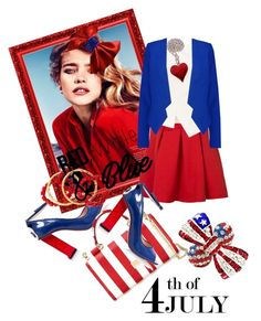 """""""Red, White and Blue Fashion"""" by kari-c ❤ liked on Polyvore featuring Camilla Elphick, Dolce&Gabbana, Roland Mouret, NEST Jewelry, Milly, redwhiteandblue and july4th"""
