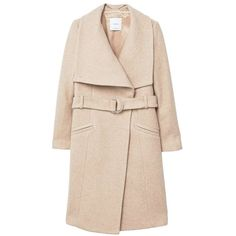 Lapels Wool Coat (715 RON) ❤ liked on Polyvore featuring outerwear, coats, woolen coat, lapels wool coat, pink coat, pink wool coat and wool lined coat