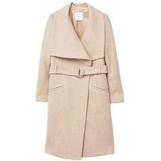 aa96405235 Mango - Lapels belted wool coat in Oatmeal