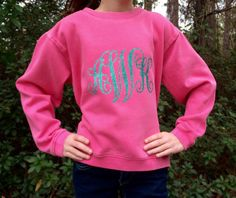 Our monogrammed Comfort Colors sweatshirts feature your choice of Glitter or Metallic monogram, permanently pressed in a large, full chest