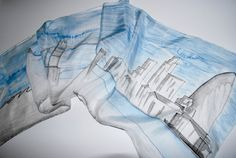 Silk Scarf  London Skyline steel blue and ash by LoveArtWillTravel, $56.00