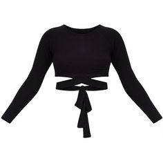 Black Cross Front Longsleeve Crop Top (65 PLN) ❤ liked on Polyvore featuring tops, jersey crop top, long sleeve tops, long sleeve jersey, jersey top and crossover front top