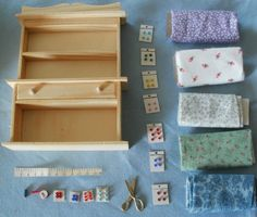 Miniature Dollhouse Lot of Sewing Accessories and Furniture -1/12 Scale