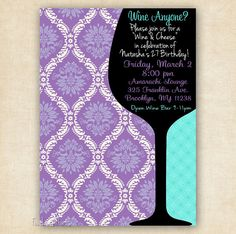 Wine Birthday or Shower Invitation - Printable - DIY - Other Colors Available
