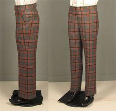 Vintage Mens 1970s Trousers  Dark Grey Plaid Wool by jauntyrooster