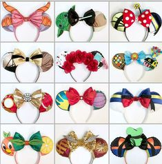 Various Mickey ears Disney Diy, Disney Bows, Disney Crafts, Cute Disney, Disney Outfits, Disney Trips, Disney Stuff, Disney Ears Headband, Disney Headbands