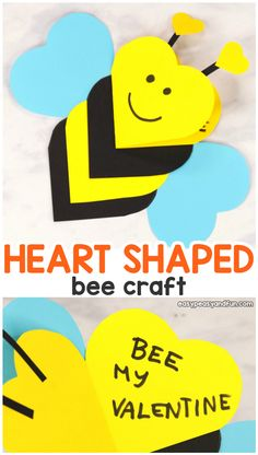 Heart Bee Valentine's Day Crafts for Kids – Heart Animal Cards – Easy Peasy and Fun - Easy Crafts for All Valentine's Day Crafts For Kids, Valentine Crafts For Kids, Crafts Toddlers, Holiday Crafts, Kinder Valentines, Valentines Diy, Teacher Valentine Cards, Valentine Heart, Valentine's Cards For Kids