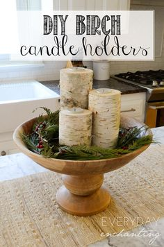 DIY Birch Candle Holders | A quick and easy craft to add a natural accent to your seasonal decor!