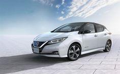 Indir duvar kağıdı Nissan Yaprak, 2018 araba, beyaz Yaprak, elektrikli arabalar, yeni Yaprak, Japon arabaları, Nissan