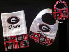Personalized Georgia Bulldog Bib and Burp Cloth by ItSewMeBoutique, $20.00