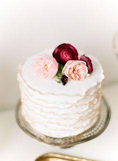 feminine cake - silver pedestal + fresh pink flowers