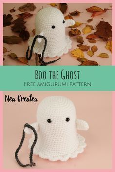Crochet Amigurumi Dolls Boo the Ghost: Free Amigurumi Pattern - Nea Creates - Crochet Boo the Ghost using this FREE amigurumi pattern! Easy difficulty free crochet pattern and he's so cute, rattling his (crochet) chains! Crochet Kawaii, Crochet Gratis, Crochet Amigurumi, Crochet Bear, Cute Crochet, Crochet Rabbit, Crotchet, Crochet Pour Halloween, Halloween Crochet Patterns