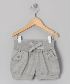 Gray Bow Shorts - Toddler & Girls by Dreamstar on #zulily