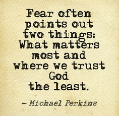 Fear often points out two things: What matters most and where we trust God the least. ~ Michael Perkins