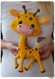 Фетровая игрушка (Felt Giraffe With Movable Legs) Stuffed Animal Patterns, Diy Stuffed Animals, Art Plastic, Felt Birds, Felt Patterns, Felt Toys, Felt Fabric, Felt Art, Felt Ornaments