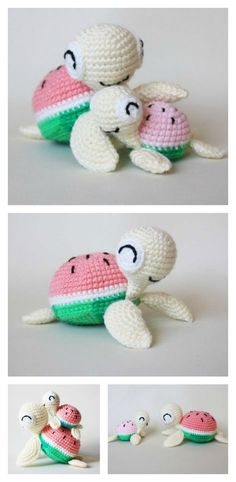 Crochet Watermelon Turtles Amigurumi Free Pattern
