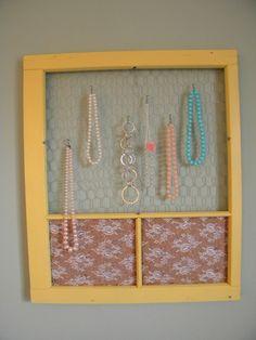 Repurposed Window Frame Organizer w/ Chicken Wire & Lace YELLOW. $69.50, via Etsy.