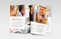 YEM GmbH Broschüre Drahtheftung 16-seitig Trainer, Grafik Design, Polaroid Film, Projects, Advertising Agency, Log Projects, Blue Prints