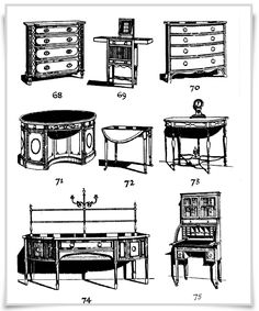 Various FurnitureEarly American colonial furniture Figs. 68, 69, 70. Mahogany inlaid chest of drawers, Shearer dressing chest with tambour front, and mahogany bow-fronted chest. Late XVIIIth century. Fig. 7I. Sheraton type mahogany inlaid writing table. Fig. 72. Hepplewhite mahogany inlaid Pembroke table. Fig. 73. Balloon clock in mahogany, and satinwood side table. Early XIXth century. Fig. 74. Shearer sideboard in mahogany and satinwood. Fig. 75. Sheraton type satinwood bureau.