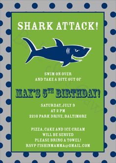 Items similar to Shark Attack Invitation (Birthday, Baby Shower, Engagement, Rehearsal) Printable Custom Preppy on Etsy 3rd Birthday Parties, Boy Birthday, Birthday Ideas, Invite, Shark Party, Home Defense, Birthday Images, Party Packs