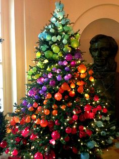White House rainbow ombre Christmas tree. Inspiration for all those jewel toned ornaments!