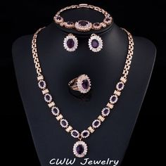 4 Piece Luxury Gold Plated Indian Wedding Party Jewelry Sets Purple Cubic Zirconia Bridal Accessories For Women T230