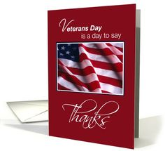 Veterans Day Thanks, American Flag on Red | Greeting Card Universe