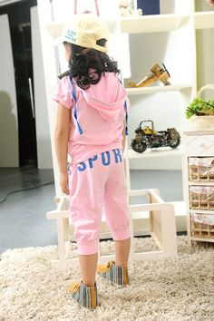 Girls Clothing Summer Clothing Set Active Pink Hooded Short Sleeve Suits